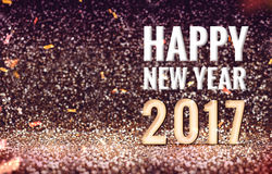 Happy New 2017 year in vintage color abstract glitter background. Holiday concept design Royalty Free Stock Images