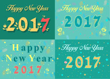Happy new year 2017. Vintage floral font. Numerals with graceful floral decor. Watercolor backgrounds with blurs and colorful stars. Vector illustration Stock Image