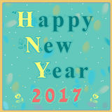 Happy new year 2017. Vintage greeting card. Yellow and blue artistic font with graceful floral decor. Green background with watercolor blurs. Red numerals Stock Photography