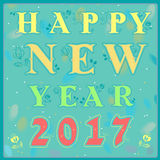 Happy new year 2017. Vintage greeting card. Yellow and green artistic font with floral decor. Blue background with watercolor blurs. Red numerals. Vector Stock Photo