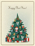 Happy new year! vintage old postcard. With Christmas tree royalty free illustration