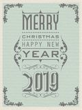 2019 HAPPY NEW YEAR VINTAGE RETRO SECOND EDITION. Simple vector illustration