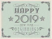 2019 HAPPY NEW YEAR VINTAGE RETRO. Simple royalty free illustration