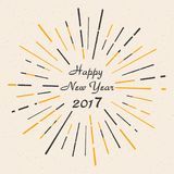 Happy New Year 2017. Vintage style. Beautiful greeting card poster calligraphy black text word gold. Fireworks. Vector illustration vector illustration
