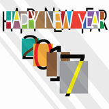 Happy new year 2007 vintage style. With colorful and unique irregular rectangle font background design Royalty Free Stock Image