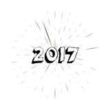 Happy new year 2017 with vintage sun star burst frame. Stock Photos