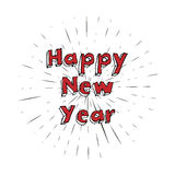 Happy new year with vintage sun star burst frame. Stock Image