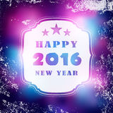 Happy New year 2016 vintage text label over blurred blackboard with white snow grunge Royalty Free Stock Image