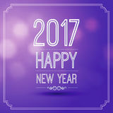 Happy new year 2017. In violet bokeh pattern background with vintage frame,vector illustration Royalty Free Stock Image