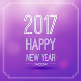 Happy new year 2017. In violet bokeh pattern background with vintage frame,vector illustration Stock Photos