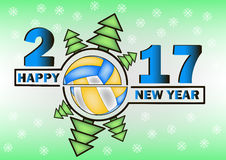 Happy new year 2017 and  Volleyball. With Christmas trees. Vector illustration Royalty Free Stock Images