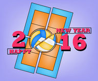 Happy new year and Volleyball. Happy New Year 2016 and a Volleyball on field background Royalty Free Stock Images