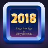 Happy New Year 2018. Volumetric numbers from gold. Banner with text. Golden glittering, shining text. Greeting card Royalty Free Stock Photos