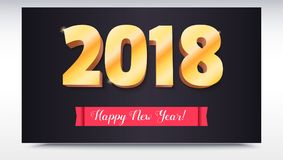 Happy New Year 2018. Volumetric numbers from gold. Red banner with text. Congratulation poster on dark backdrop Stock Photography