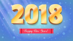 Happy New Year 2018. Volumetric numbers from gold. Red banner with text. Congratulation poster on snow backdrop Royalty Free Stock Photography