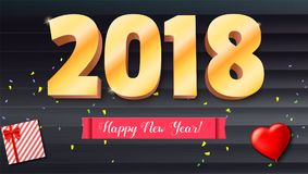 Happy New Year 2018. Volumetric numbers from gold. Red banner with text. Congratulation poster on wooden backdrop Stock Image