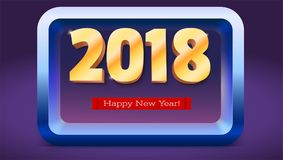 Happy New Year 2018. Volumetric numbers from gold. Red banner with text. Golden glittering, shining text. Greeting card Royalty Free Stock Images