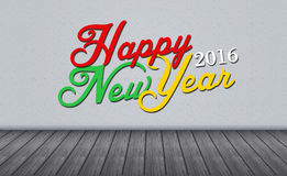 Happy New Year 2016 on Wall.  Royalty Free Stock Photography