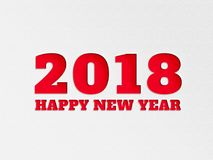 Happy New Year 2018 wallpaper banner background flower with paper cut out effect in red color. New year 2018 Celebration paper cut out or emboss effect. New Stock Photography