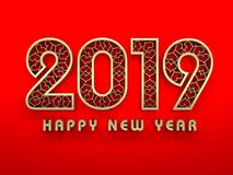 New Year 2019 - 3D Rendered Image. Happy New Year 2019 Wallpaper - 3D Rendered Image Design Stock Photography