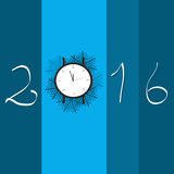 Happy new year  watch with 2016. Happy new year blue card with time Royalty Free Stock Photos