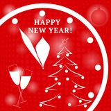 Happy new year. Watch, Christmas balls and tree. Vector in red c. Happy new year. Watch, Christmas balls and tree. Vector illustration in red colors Royalty Free Stock Photos