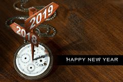 Happy New Year 2019 - Watch with Signs vector illustration