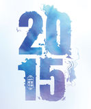 2015 happy new year water color numbers. Numbers of new year picturesque spreading a spot in blue shades Stock Photos