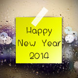 Happy New Year with water drops background Royalty Free Stock Photography