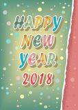 Happy New Year 2018. Watercolor card Royalty Free Stock Photo