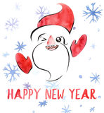 Happy New Year watercolor card with Santa Claus, snowflakes and lettering, cute kawaii retro style. Royalty Free Stock Photo