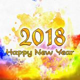 Watercolor 2018 Numbers Stock Photo