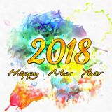 Watercolor 2018 Numbers Stock Photos