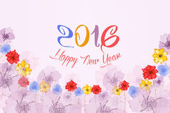 Happy new year 2016. Watercolor Colorful Poppies background.  Vector Illustration