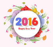 Happy new year 2016. Watercolor Flower background.  Stock Illustration