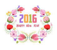 Happy new year 2016. Watercolor flowers frame.  Stock Illustration