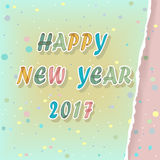 Happy new year 2017. Watercolor Greeting card. Happy new year 2017. Greeting card. Colorful artistic font with watercolor effect. Green background with Stock Photos