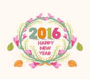Happy new year 2016. Watercolor purple flowers frame.  Stock Illustration