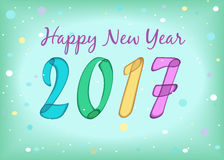 Happy New Year 2017. Watercolor symbols. Happy New Year 2017. Calendar template. Colorful, hand drawn symbols with watercolor effect. Celebration background with Stock Photography