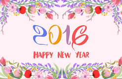 Happy new year 2016. Watercolor wildflowers background.  Stock Illustration