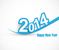 Happy new year 2014 wave blue colorful Stock Illustration