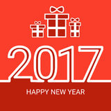 Happy New 2017 Year Web Icon Banner. Flat Vector Illustration Royalty Free Stock Photo