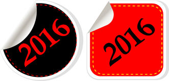 Happy new year 2016 - web icon on a round button Royalty Free Stock Photography