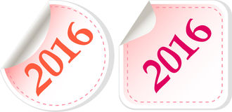 Happy new year 2016 - web icon on a round button. Holiday concept vector illustration