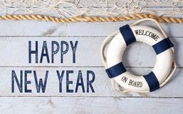 Happy New Year - welcome on board stock image