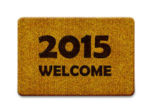 Happy New year. 2015, welcome doormat carpet isolated on white. the same concept available for 2016 year. (clipping path included Stock Images