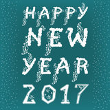 Happy new year 2017. White artistic font with floral decor. Green background with snow. Vector illustration. EPS 8 Royalty Free Stock Images
