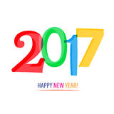 2017 - Happy New Year!. 2017 - Happy New Year on White Background Stock Images