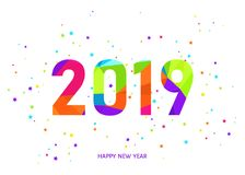 2019  Happy New Year  white background with colorful confetti. 2019 Happy New Year greeting card on white background with colorful confetti. Vector  template Royalty Free Stock Images