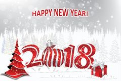 Happy New Year 2018 white background / greeting card. Happy New Year 2018 black background / greeting card with Brightly Colorful Fireworks on a silver white Stock Photography